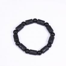 Vòng tay đá obsidian đốt trụ lục tự đại minh chú 12x8mm mệnh thủy, kim - Ngọc Quý Gemstones