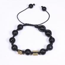 Vòng tay đá obsidian mix charm màu vàng gắn đá đen 10mm mệnh thủy, mộc - Ngọc Quý Gemstones