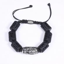 Vòng tay đá obsidian đốt trụ lục tự đại minh chú mix tỳ hưu bạc 16x12mm mệnh thủy, mộc - Ngọc Quý Gemstones