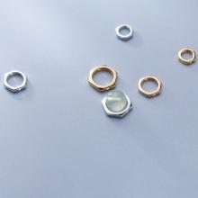 Charm bạc hình lục giác lồng hạt 8.2mm