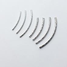 Charm bạc ống xoắn xỏ ngang 2x25mm