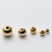 Charm bi bạc mạ vàng hạt tròn trơn - hạt cườm bạc mạ vàng lỗ nhỏ 3mm