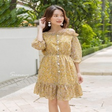 Đầm voan hoa trễ vai Kimi AD190119