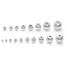Charm bi bạc hạt tròn trơn - hạt cườm bạc 8mm