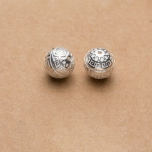 Charm bạc hình tròn họa tiết hoa văn 14mm