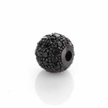 Charm hợp kim cầu màu đen đính đá đen xỏ ngang 8mm