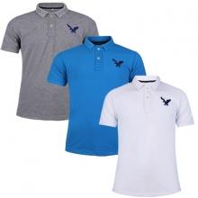 Áo phông nam có cổ polo dokafashion, combo 3 áo logo thêu rất sắc xảo màu xám đậm, xanh dương, trắng DB305