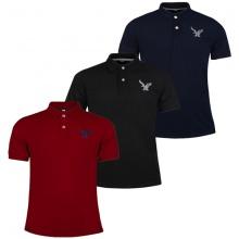 Áo phông nam có cổ polo dokafashion, combo 3 áo màu đỏ đô, đen, xanh đen Black DB307