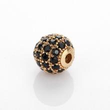 Charm hợp kim cầu màu vàng đính đá đen xỏ ngang 6mm