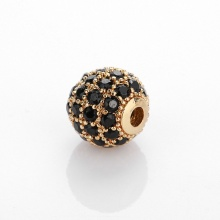 Charm hợp kim cầu màu vàng đính đá đen xỏ ngang 8mm