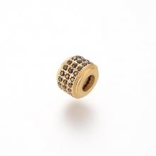 Charm hợp kim hình trụ màu vàng đính đá đen xỏ ngang