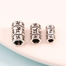 Charm bạc hình trụ 6 cạnh khắc lục tự đại mình chú xỏ ngang 12mm