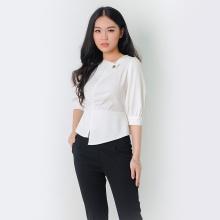 Áo kiểu thời trang Eden dáng ngắn cổ cách điệu màu trắng ASM052