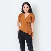 Áo kiểu thời trang Eden dáng ngắn tà xéo màu bò - ASM053