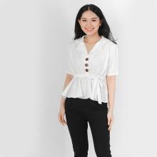 Áo peplum thời trang Eden cổ danton màu trắng - ASM055