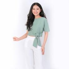 Áo croptop thời trang Eden thắt nơ eo màu xanh - ASM057