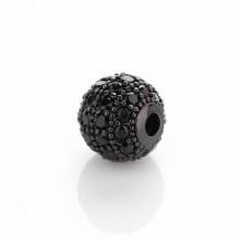 Charm hợp kim cầu màu đen đính đá đen xỏ ngang 10mm