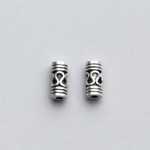 Charm bạc chặn hạt hình trụ họa tiết hoa văn 3.5x6.5mm