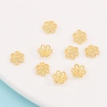 Charm bạc chụp hạt, bọc hạt họa tiết hoa 8mm - mạ vàng