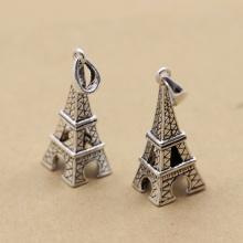 Charm bạc hình tháp Eiffel treo 29x11mm