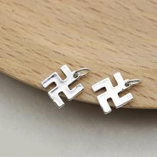 Charm bạc hình chữ phạn treo