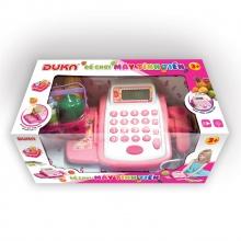 Bộ đồ chơi máy tính tiền màu hồng, hiển thị màn hình, có đèn báo và âm thanh