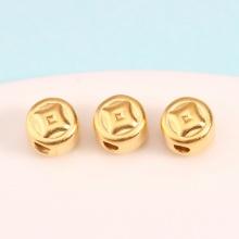 Charm bạc hình đồng tiền xỏ ngang mạ vàng