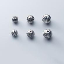Charn bạc hình cầu họa tiết xỏ ngang 14mm