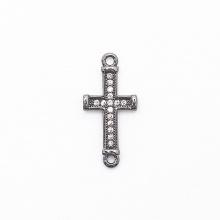 Charm bạc hợp kim đính đá thánh giá xỏ 2 đầu màu đen