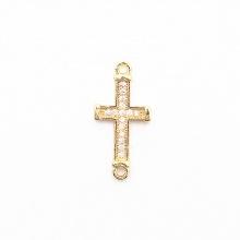 Charm bạc hợp kim đính đá thánh giá xỏ 2 đầu màu vàng