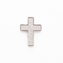 Charm hợp kim đính đá thánh giá xỏ ngang màu bạc