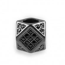 Charm hợp kim lục giác đính đá xỏ ngang màu đen