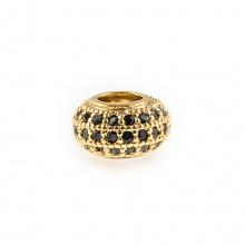 Charm hợp kim tròn đính đá xỏ ngang màu vàng 8.5mm
