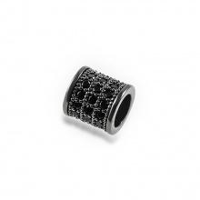 Charm bạc hợp kim đính đá hình trụ tròn xỏ ngang màu đen