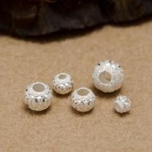Charm bạc hạt tròn xỏ ngang 10mm