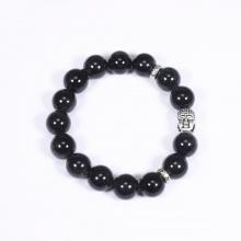 Vòng tay đá thạch anh tóc đen mix charm phật bạc 925 10mm mệnh thủy, mộc - Ngọc Quý Gemstones