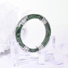 Vòng tay đá cẩm thạch sơn thủy AAA khảm bạc ni 52 mệnh hỏa, mộc - Ngọc Quý Gemstones