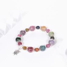 Vòng tay đá tourmaline đa sắc mix charm rùa bạc hạt đá 10mm - Ngọc Quý Gemstones