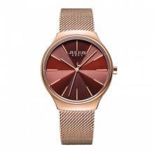 Đồng hồ nữ dây kim loại chính hãng Julius Hàn Quốc JA-1199B đồng mặt đỏ