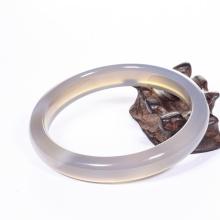 Vòng tay đá mã não lông chuột liền khối bản hẹ mỏng ni 56 mệnh kim, thủy - Ngọc Qúy Gemstones
