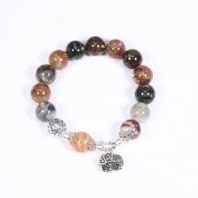Vòng tay đá thạch anh ưu linh mix charm cầu họa tiết bát quái hạt đá 10mm - Ngọc Quý Gemstones