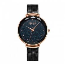 Đồng hồ nữ dây kim loại chính hãng Julius Hàn Quốc JA-1189D Đen