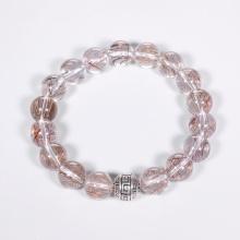 Vòng tay đá thạch anh tóc ánh kim mix charm cầu bạc mệnh thủy, kim - Ngọc Quý Gemstones