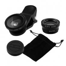 Bộ kính lens cho điện thoại góc rộng, fisheye, macro 3 trong 1 Aturos Universal Clip Lens