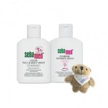 Combo sữa rửa mặt - tắm toàn thân cho da nhạy cảm và dung dịch vệ sinh phụ nữ Sebamed tặng kèm gấu bông