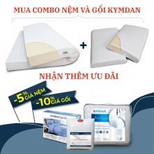 Combo nệm Kymdan Deluxe 180 x 200 x 15 cm và 2 gối Kymdan Pillow Pressure Free Air kèm quà tặng