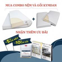 Combo nệm Kymdan Deluxe 160 x 200 x 10 cm và 2 gối Kymdan Pillow PressureFree Air kèm quà tặng