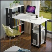 Bàn học, bàn làm việc, để máy tính có kệ sách bằng gỗ, có thể lắp ráp tiện lợi Kachi - Màu trắng đen