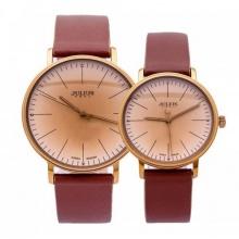 Đồng hồ cặp julius hàn quốc dây da ja-814 JU1005 nâu cổ điển