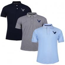 Áo phông nam có cổ polo dokafashion, combo 3 áo logo thêu sắc xảo màu xám đậm, xanh môn, xanh đen BLACK DB307